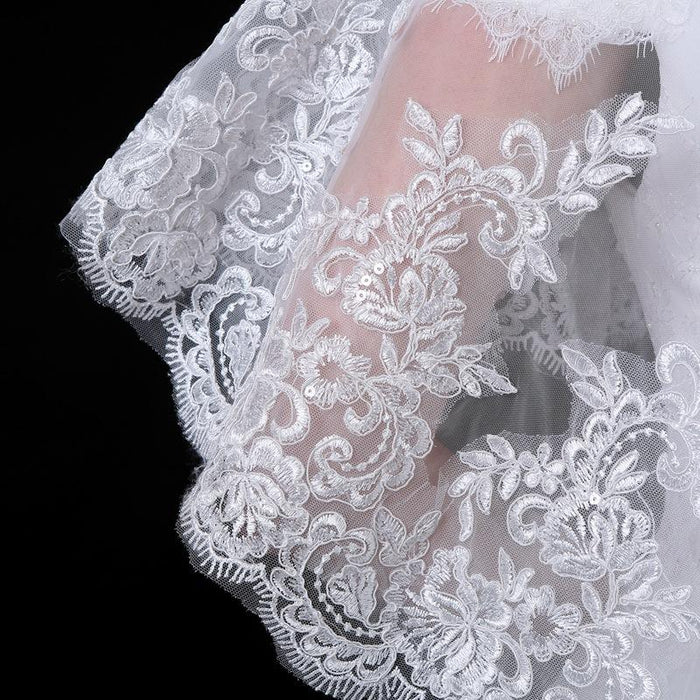 Bridal wedding dress accessories cloak lace embroidery white shawl