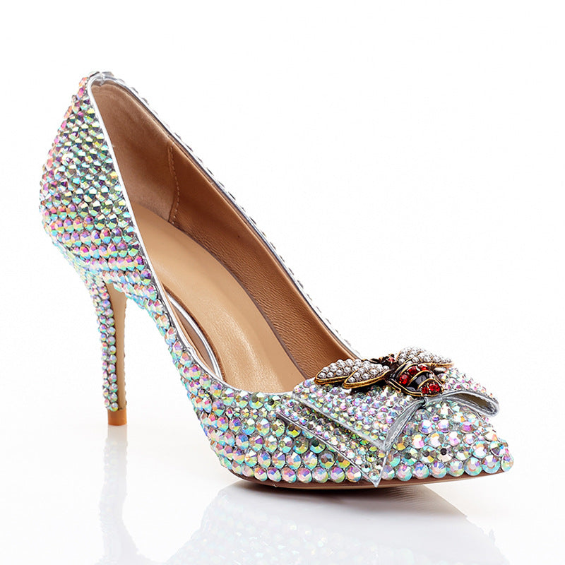 Bridal  Sequins Colored diamonds Bow High Heels
