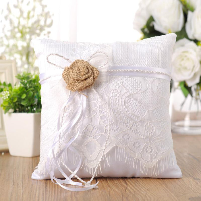 Hemp yarn bow hollow ring pillow Flower girl bride holding ring pillow