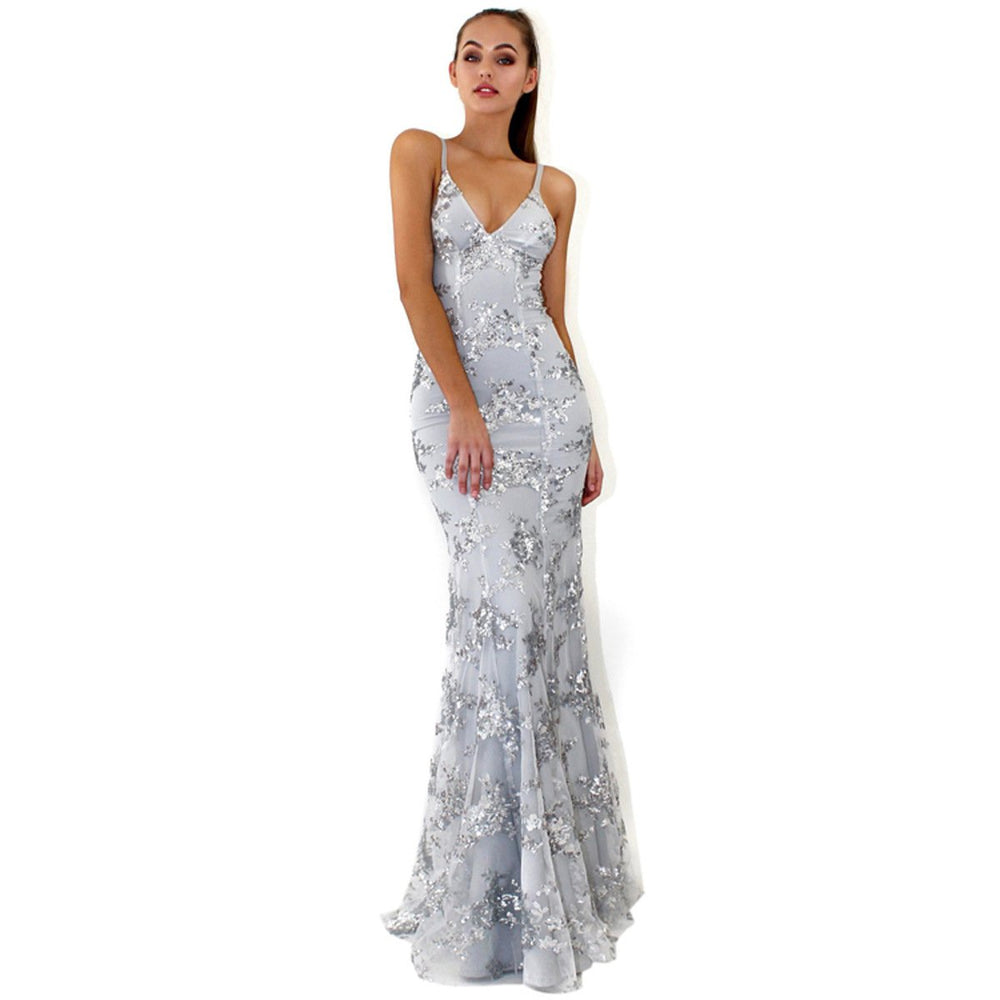 Sexy evening dress with sequined deep v-neck halter and halter