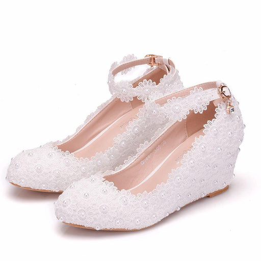 Weddingb Heels   -White lace Pearl