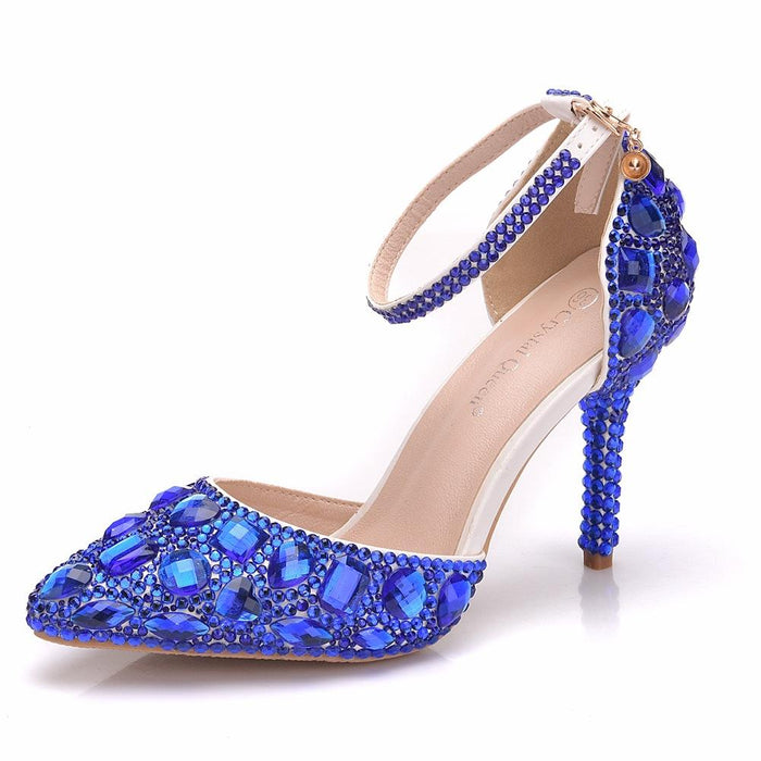 Bridal  Heels -Rhinestone Blue Diamond
