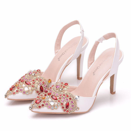 Bridal Sandals - White Rhinestone