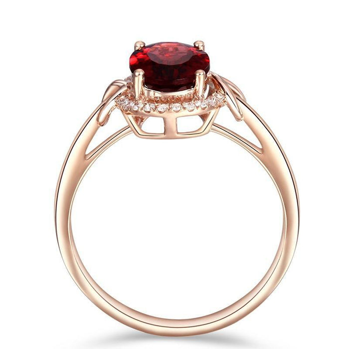 Luxury ruby birthday ring plated with 18K rose gold