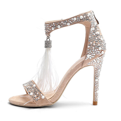 Feathers  Shiny Rhinestones Rear zipper  creamy-white pearl Night Club Heels  Sandals
