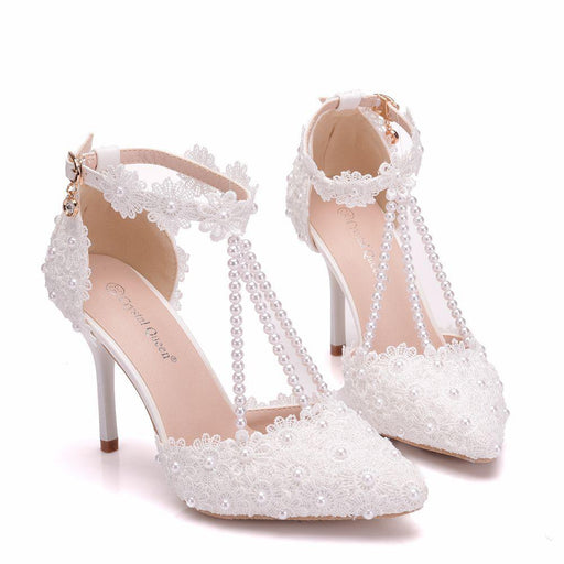 Wedding Heels - White Lace flower