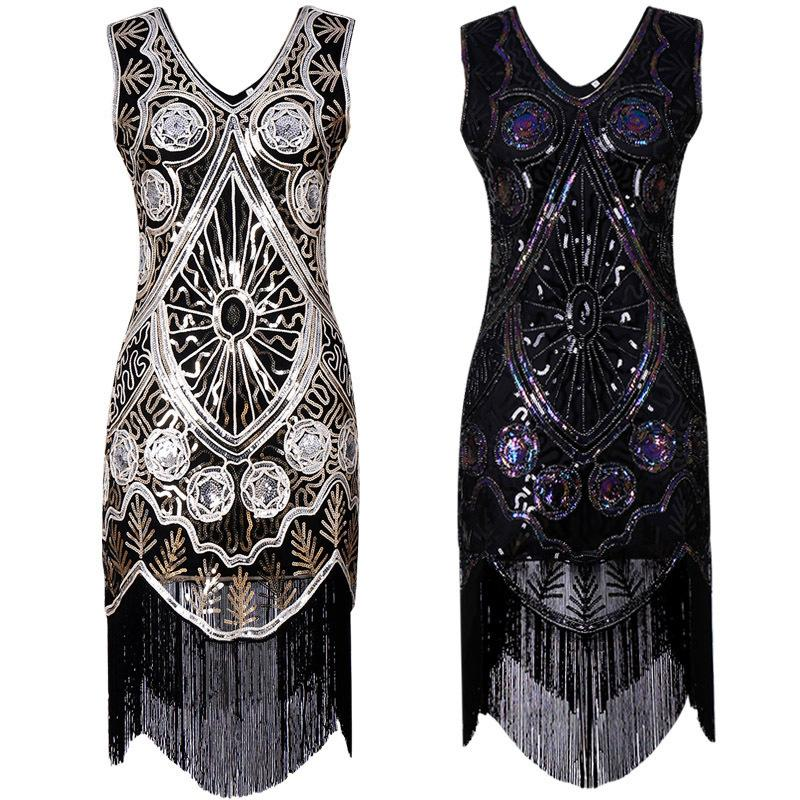 Vintage dresses hand-woven sequined dresses with deep v-fringed front and back
