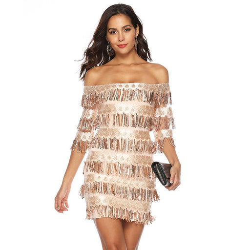Slim single collar fringe package hip sexy sequins sleeve women's dress