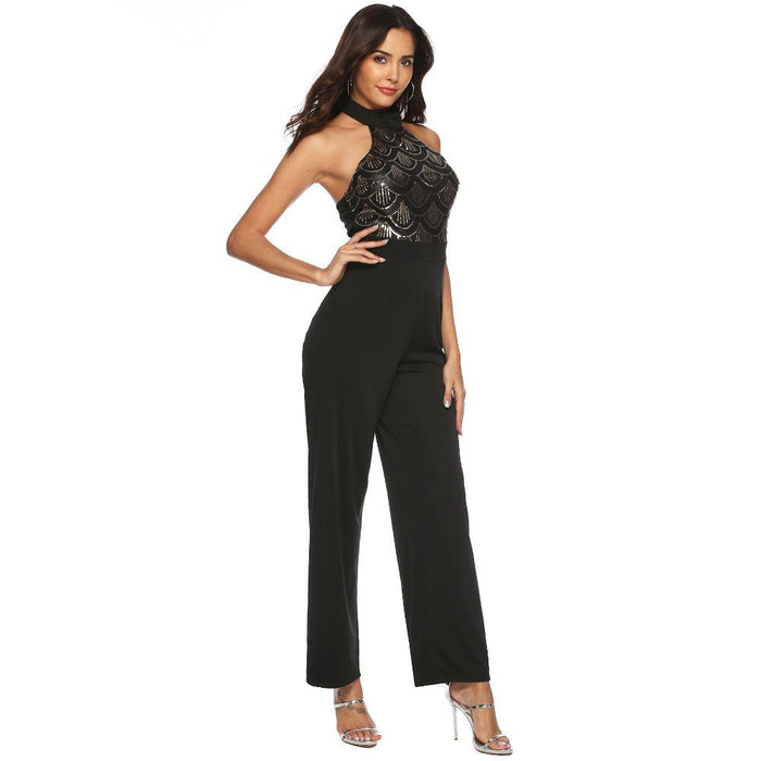 A long, sexy sequined jumpsuit for women with neck hanging and shoulders open