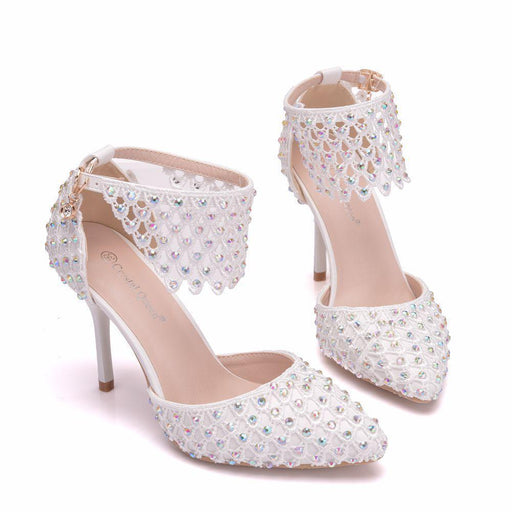 Bridal Heels -White Pearl Lace Reticular