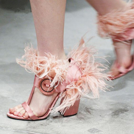 Red Shaped Pumps Sandals Feather Hollow High Heel Sandals