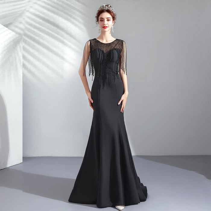 Black fishtail banquet annual meeting catwalk show host wedding dress