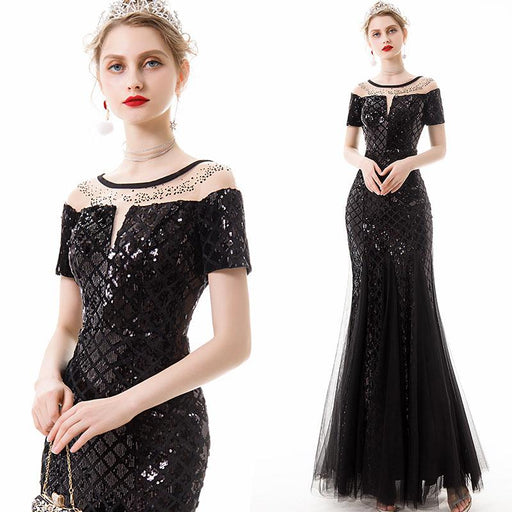 Banquet Mermaid Glitter Black Dress