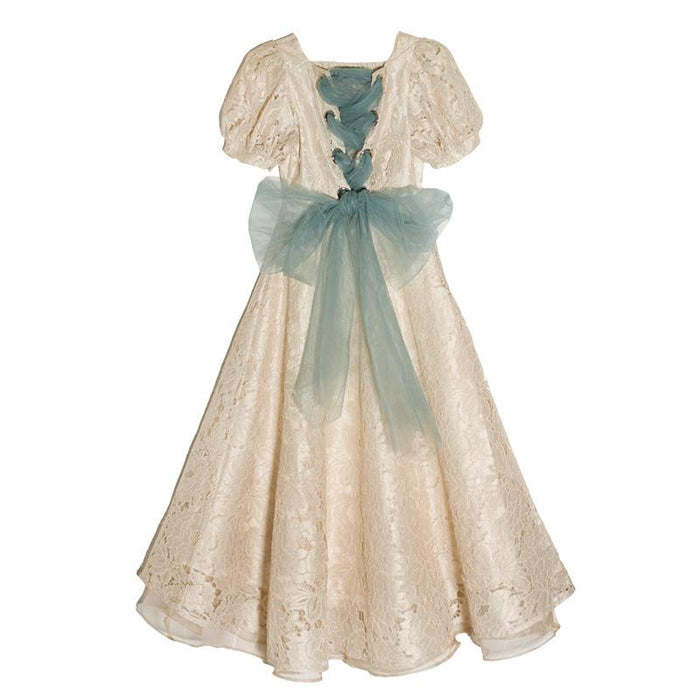 Fairy Pastel Lacy  cutout bow tie strap short sleeve dress