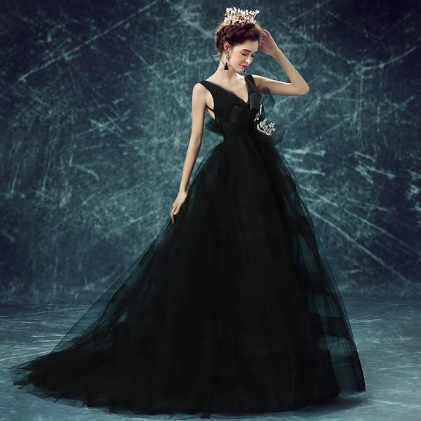 Sexy V-neck black birthday party banquet show wedding dress