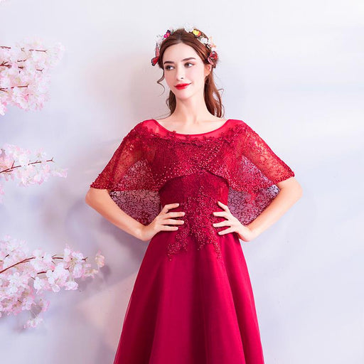 Red diamond bride toast evening dress