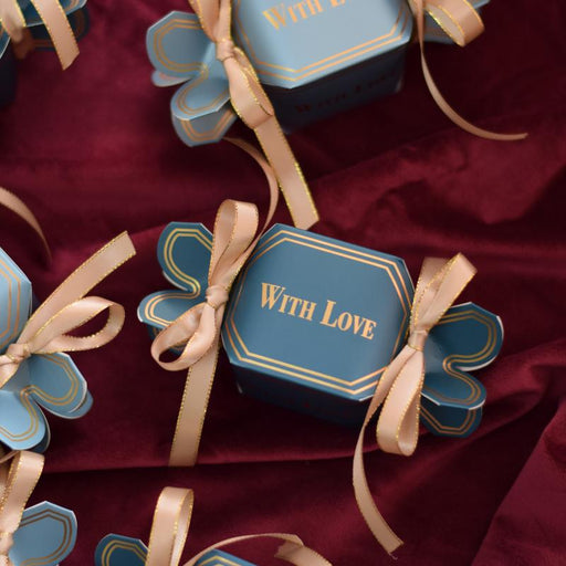 Blue sugar box wedding personalized wedding, custom gift box, candy box, party gift box, wedding gift box with ribbon bow