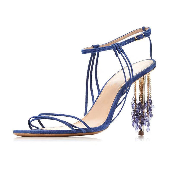 Party Rhinestone stiletto Royal Blue Sandals High Heels