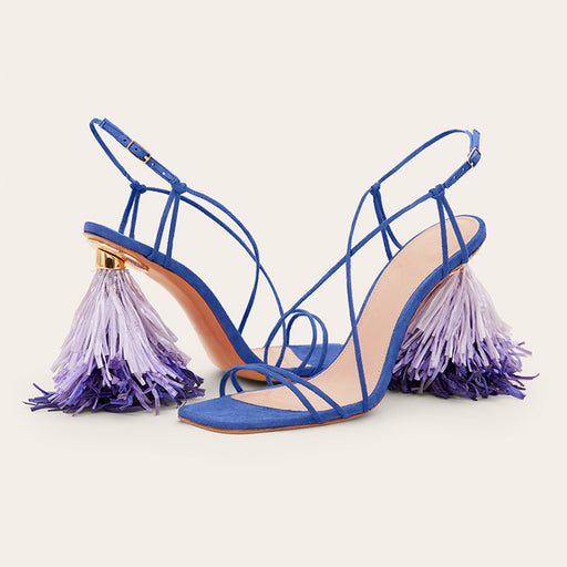 Night Club Pink Fringed Shaped Heels Sandals