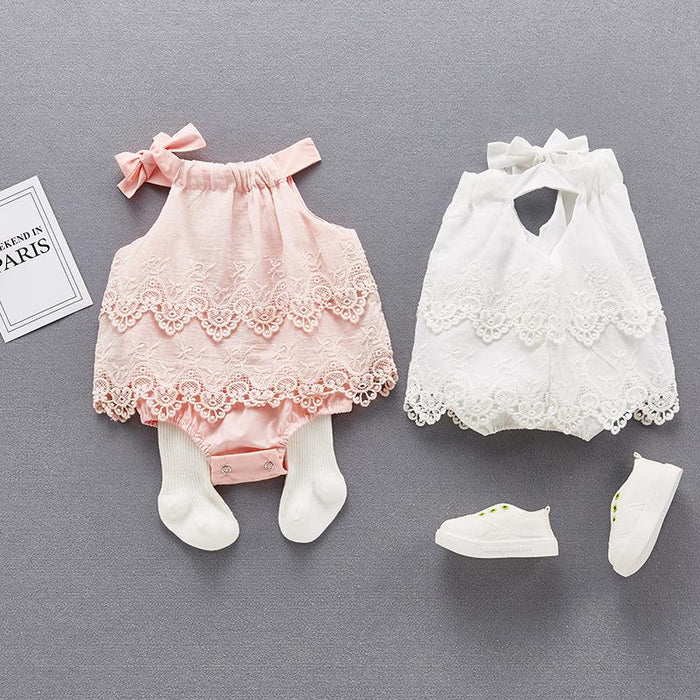 Fairy  Pastel Lace Baby girl  one hundred days jumpsuit triangle hakama bag fart princess skirt