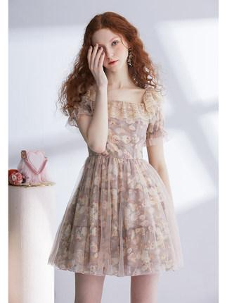 Fairy Lolita Lace floral short sleeve mesh dres
