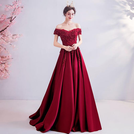 Red crystal diamond bride wedding toast costume show dress