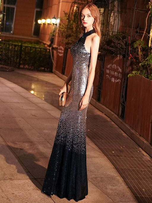 Night Club  Hanging neck Sparkle Fishtail dress