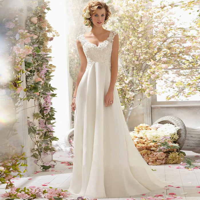 Romantic backless lace trailing bridal wedding dress