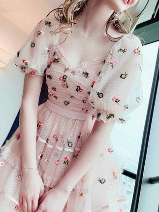 Fairy Lolita lace embroidered lantern sleeve dress
