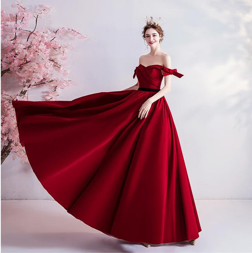 Red bride wedding toast clothing banquet annual meeting wedding evening dress