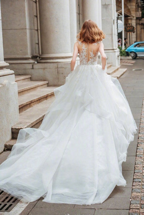 Lace tail bridal wedding dress