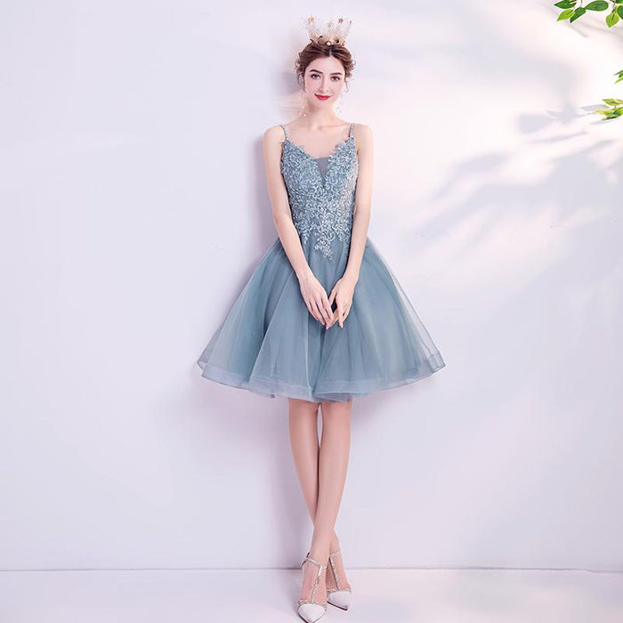 Refreshing misty blue short paragraph birthday party performance banquet annual meeting bridesmaid wedding dress