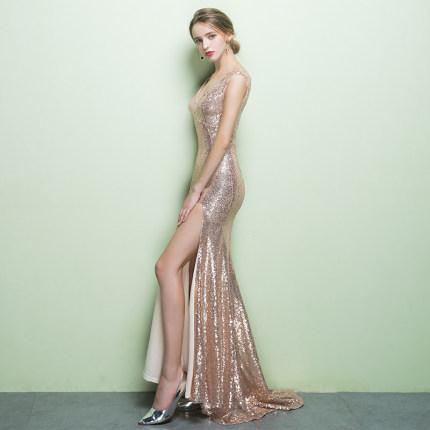 Bridesmaid   Sequin  Deep V-neck   Fishtail Golden  evening dress