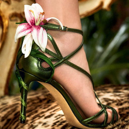 Handmade fine heel lily three-dimensional flower sandals