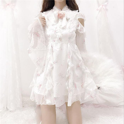 Fairy Sweet Lacy Floral Long Sleeve Off Shoulder Gentle Dress