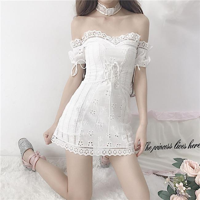 Fany Girl sweet word shoulder lace puff sleeve embroidery flower dress
