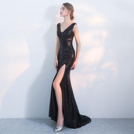 Night Club   Sequins  Deep V-neck   Fishtail Black  evening dress