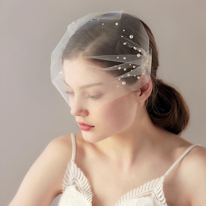 Ivory mini veil headband, Headband veil, Bridal hair piece with veil, White birdcage veil hair piece, Bridal headband, Hair accessories