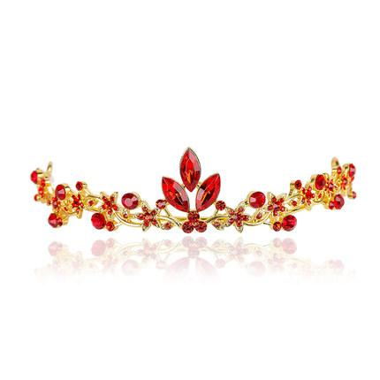 Bridal Red Crown Headdress Earrings Necklace Toast Accessories