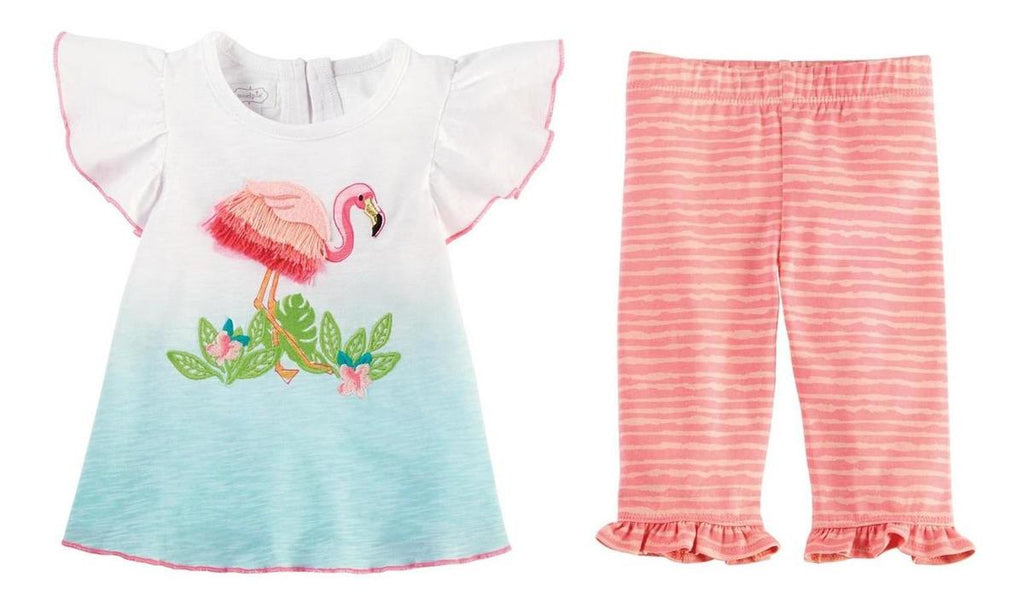 Set Blusa/pantalon Flamingo Mud Pie Olanes 6m
