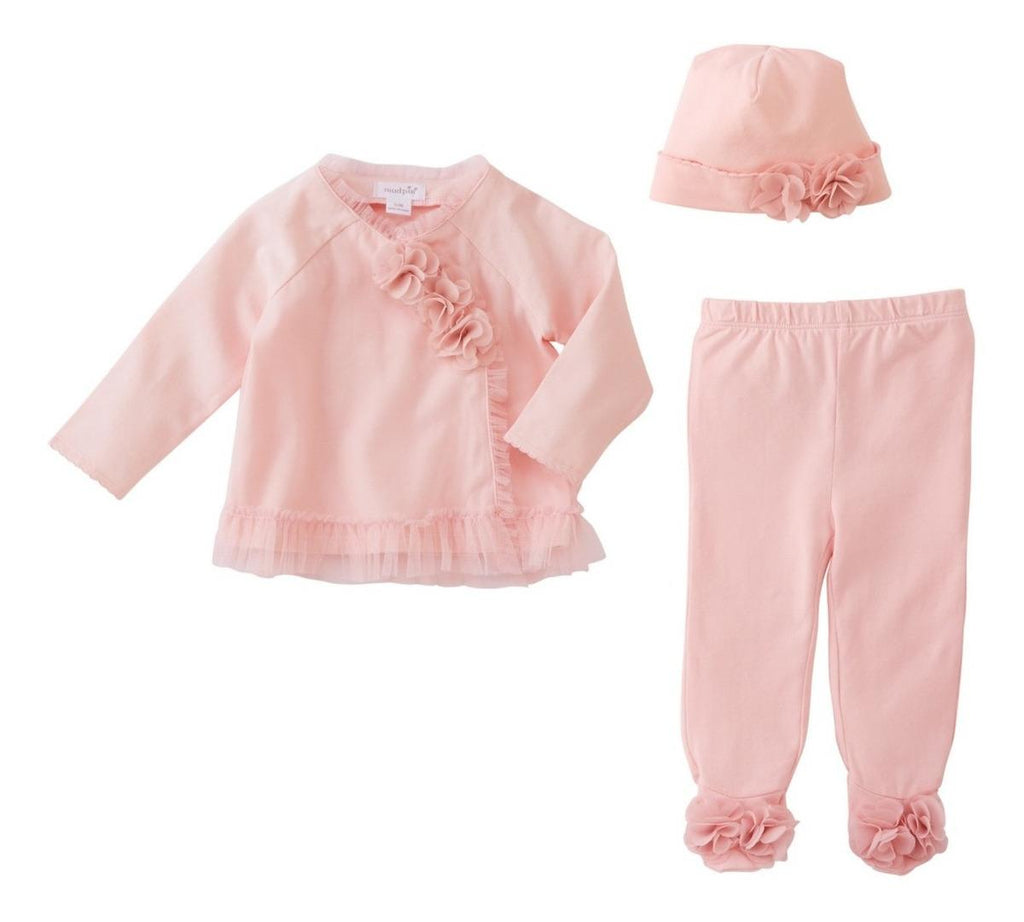 Set Mesh & Chiffon Floral Mud Pie Take Me Home Rosa 6m