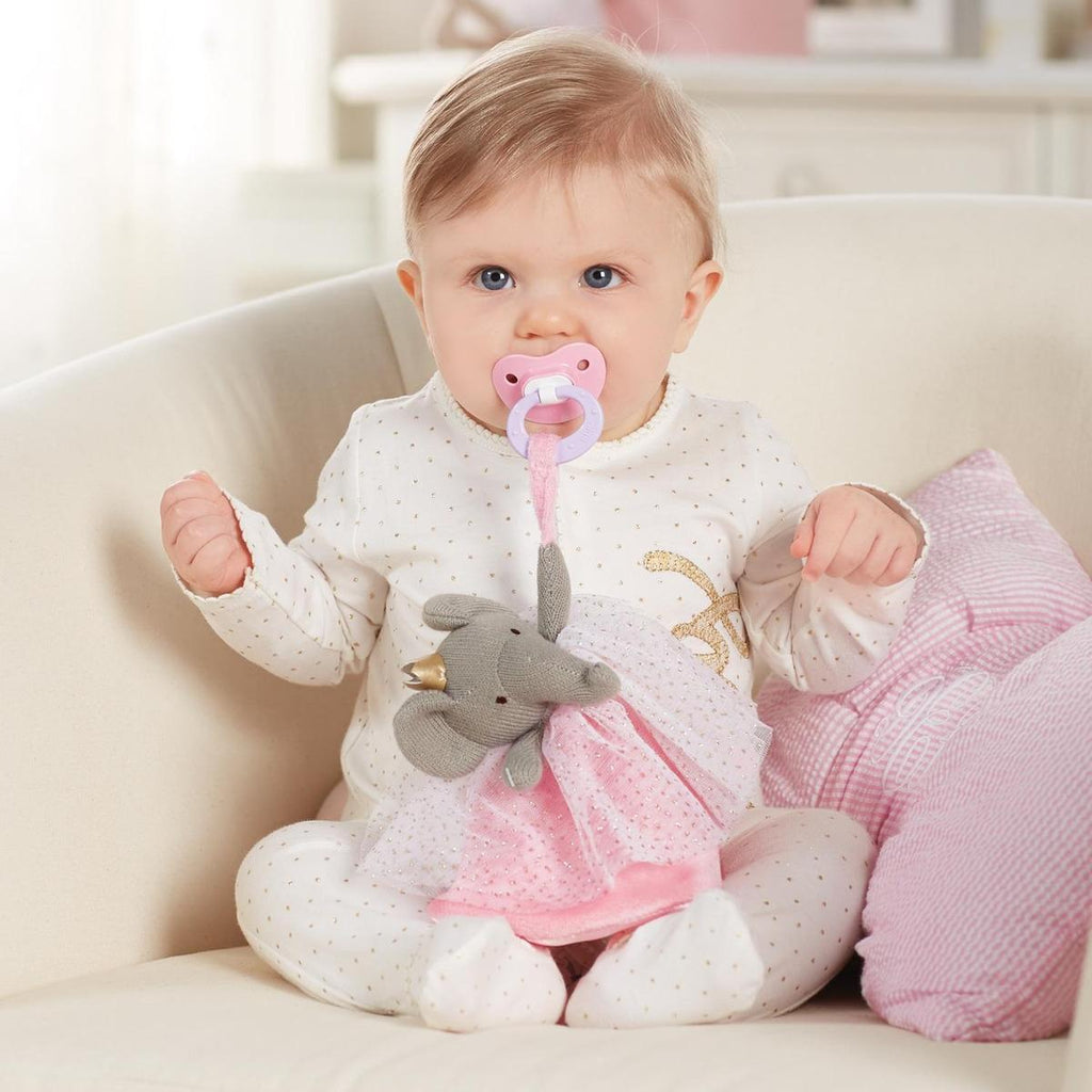 Peluche Portachupon Elefante Mud Pie Princess Rosa