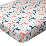 Organic Cotton Fitted Crib Sheet, Multi-Colored Giraffes