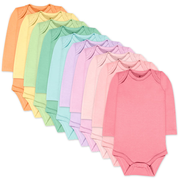 10-Pack Organic Cotton Long Sleeve Bodysuits, Rainbow Girl