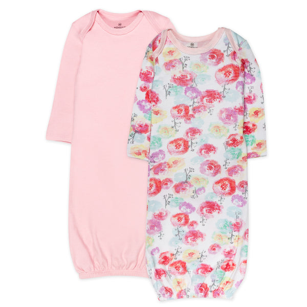 2-Pack Organic Cotton Sleeper Gowns, Rose Blossom/Pink Featured
