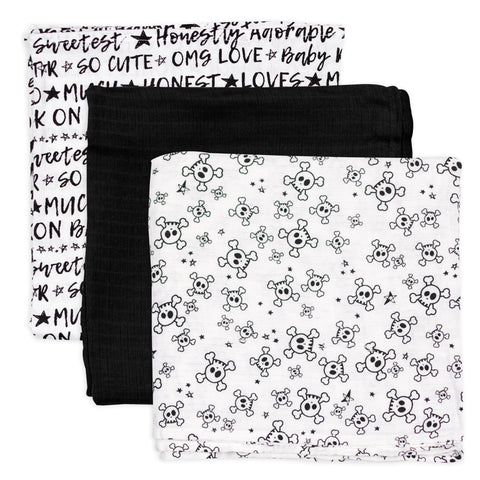 3-Pack Organic Cotton Swaddling Blankets, Tossed Skulls