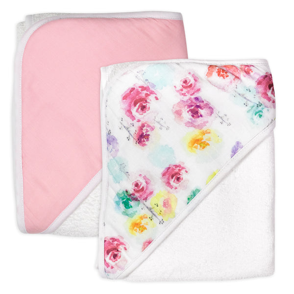 2-Pack Organic Cotton Hooded Towels, Rose Blossom/Pink