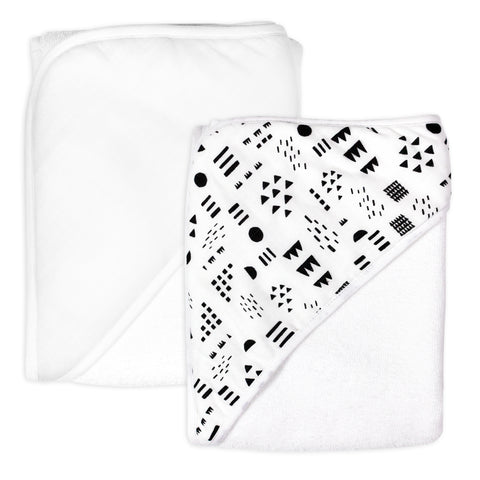 2-Pack Organic Cotton Hooded Towels, Pattern Play/White