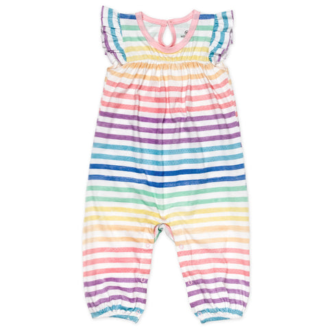 Organic Cotton Flutter Sleeve Coverall, Rainbow Stripe