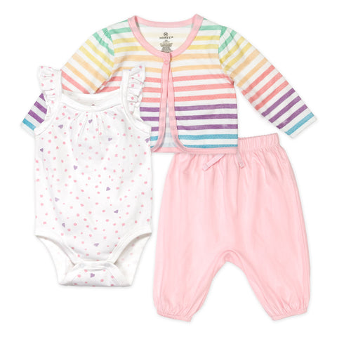 3-Piece Organic Cotton Cami Bodysuit, Pant, Cardigan Set, Rainbow Stripe/Love Dot